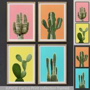JUNIQE Cactus Print collection framed 3d model