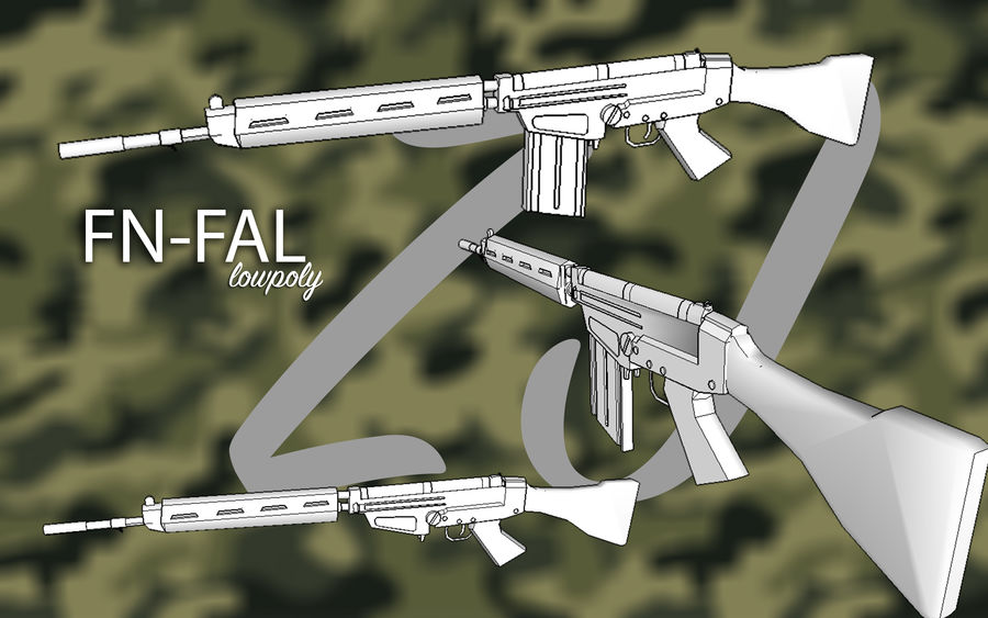 FN FAL .762 royalty-free 3d model - Preview no. 1