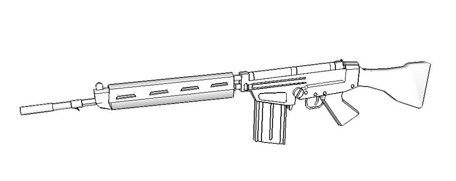 FN FAL .762 royalty-free 3d model - Preview no. 4