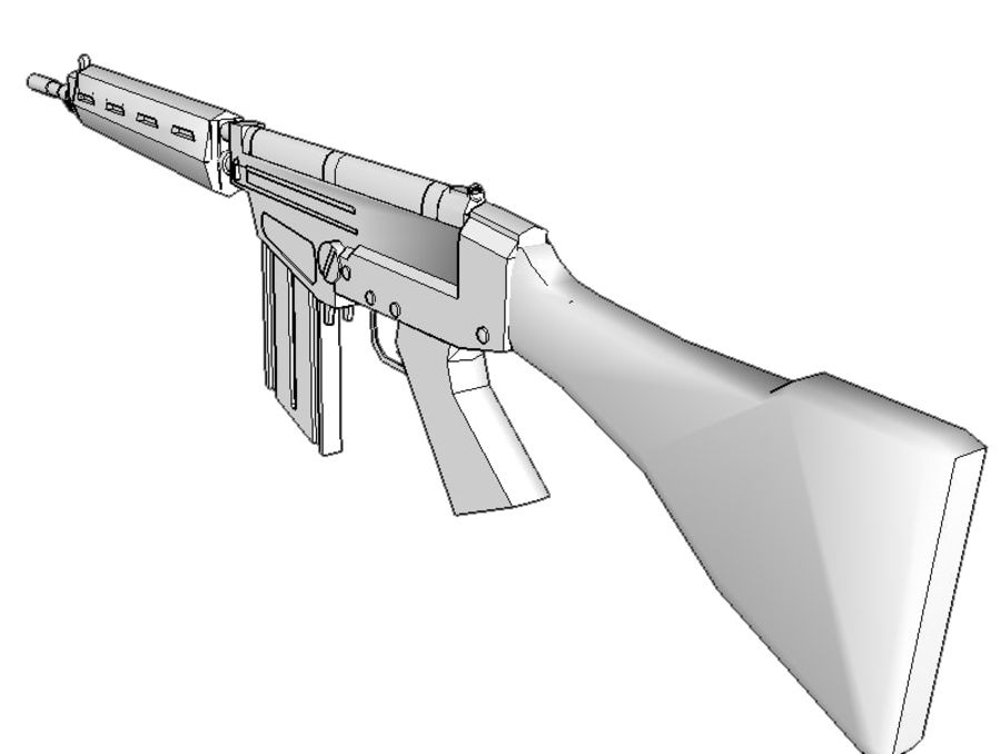 FN FAL .762 royalty-free 3d model - Preview no. 3