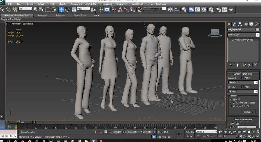 Mädchen Junge royalty-free 3d model - Preview no. 7