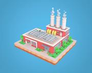 Fábrica de poli de fábrica dos desenhos animados 3d model