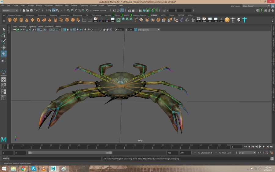 Crab Rigged royalty-free 3d model - Preview no. 2