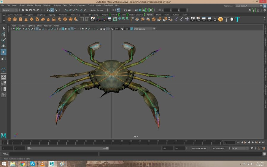Crab Rigged royalty-free 3d model - Preview no. 3