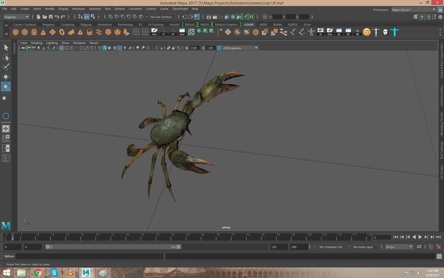 Crab Rigged royalty-free 3d model - Preview no. 5