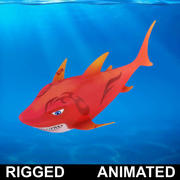 Cartoon Shark Rigged Animated 3d model
