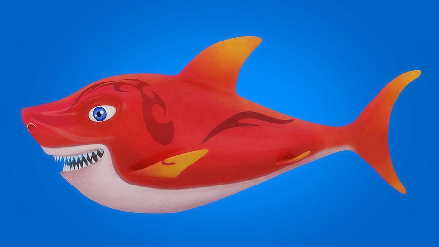 Cartoon tubarão manipulado animado royalty-free 3d model - Preview no. 3
