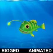 Cartone animato pesce lanterna truccato animato 3d model