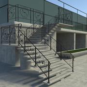 화려한 계단-난간 3d model