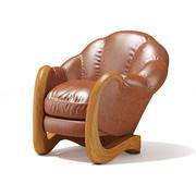 棕色皮革扶手椅 3d model