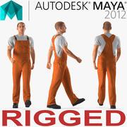 工人身穿橙色工作服进行玛雅3D模型索具 3d model