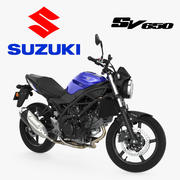 Уличный мотоцикл Suzuki SV650 Rigged 3d model