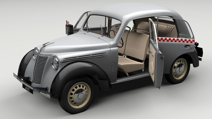 Renault Juvaquatre Berline BFK4 hungarian taxi royalty-free 3d model - Preview no. 7