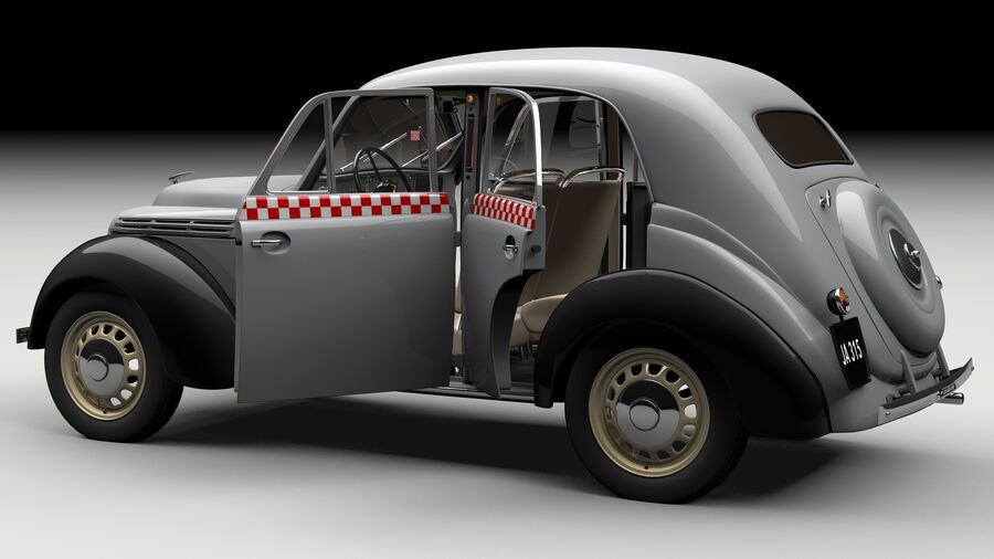 Renault Juvaquatre Berline BFK4 hungarian taxi royalty-free 3d model - Preview no. 4