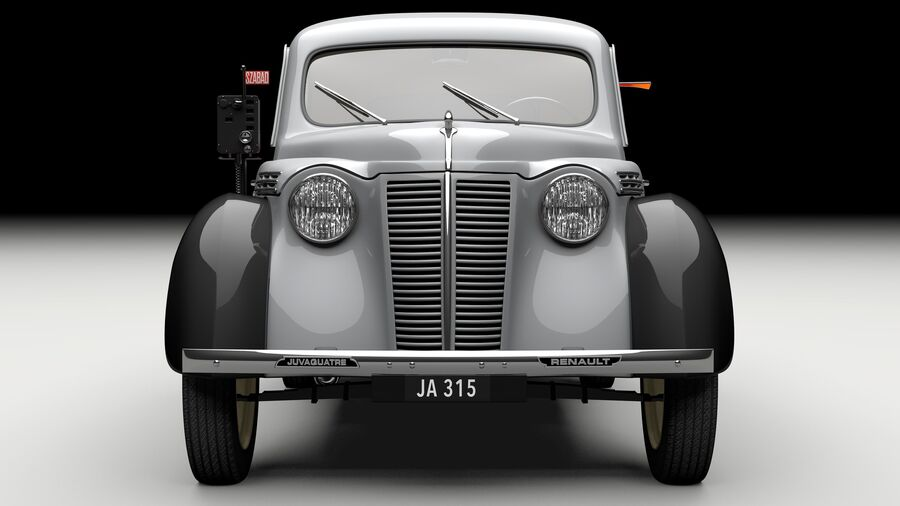 Renault Juvaquatre Berline BFK4 hungarian taxi royalty-free 3d model - Preview no. 2