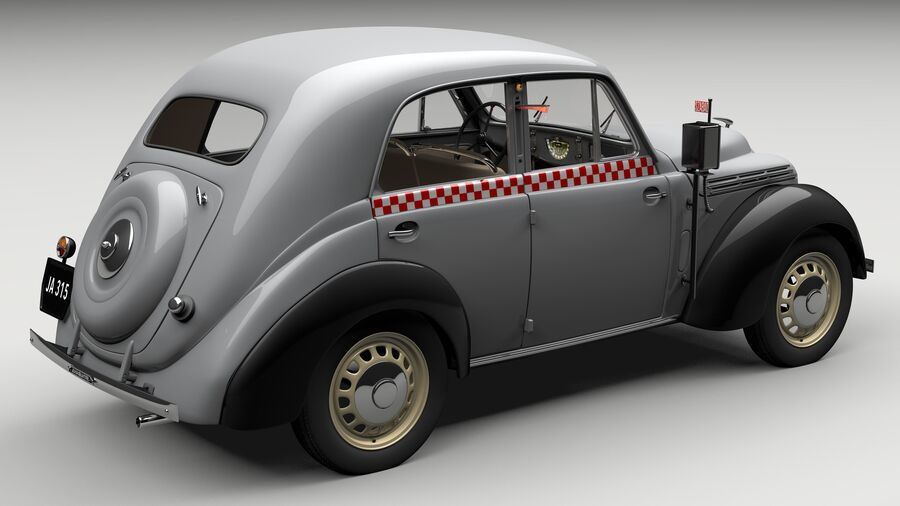 Renault Juvaquatre Berline BFK4 hungarian taxi royalty-free 3d model - Preview no. 6