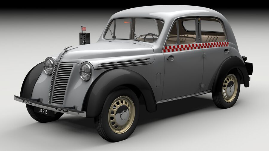 Renault Juvaquatre Berline BFK4 hungarian taxi royalty-free 3d model - Preview no. 11