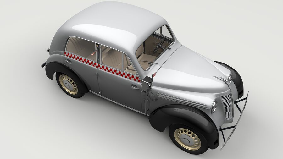 Renault Juvaquatre Berline BFK4 hungarian taxi royalty-free 3d model - Preview no. 10