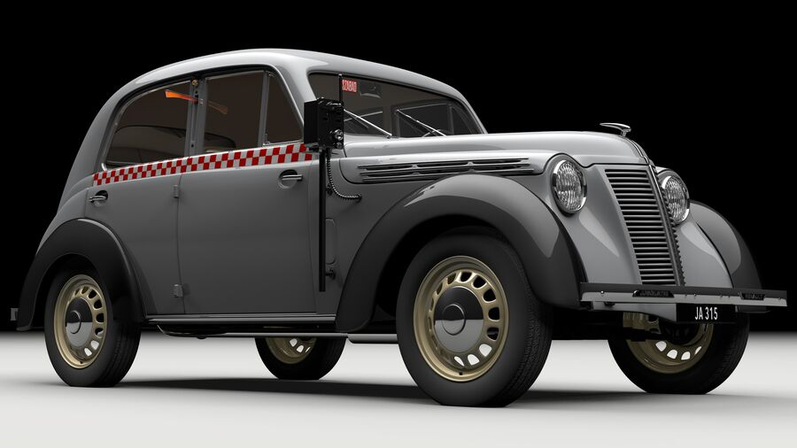 Renault Juvaquatre Berline BFK4 hungarian taxi royalty-free 3d model - Preview no. 1