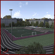 Football (Soccer) Amater Stadium 3d model