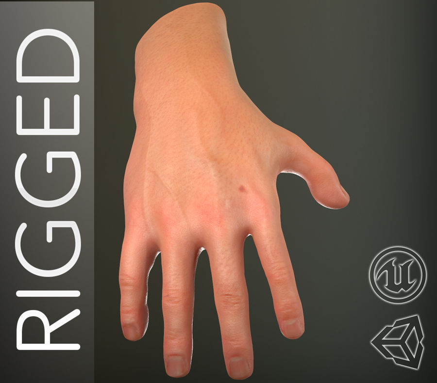Male Hand PBR Rigged royalty-free 3d model - Preview no. 1