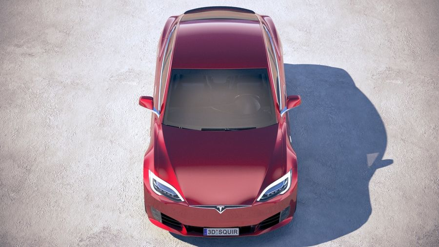 Tesla Model S P100D 2018 royalty-free 3d model - Preview no. 9