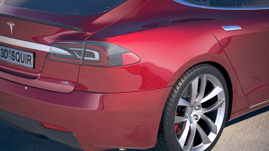 Tesla Model S P100D 2018 royalty-free 3d model - Preview no. 4