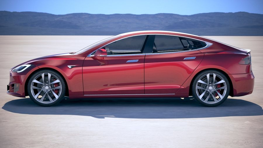 Tesla Model S P100D 2018 royalty-free 3d model - Preview no. 7