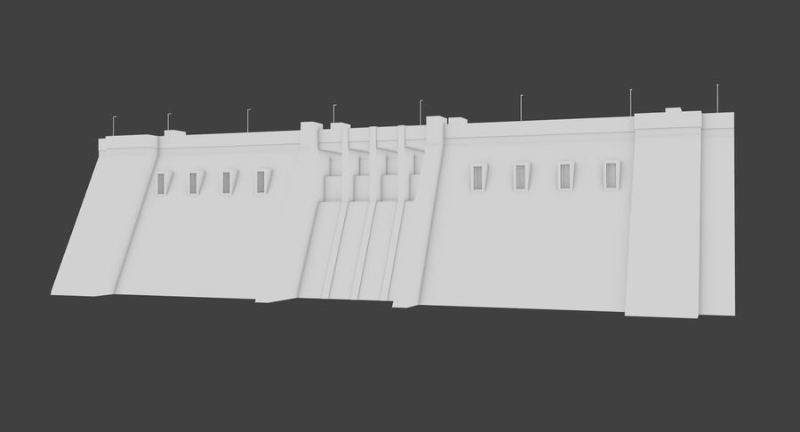 Hydroelectric Dam 1 Bare Bones Version royalty-free 3d model - Preview no. 5