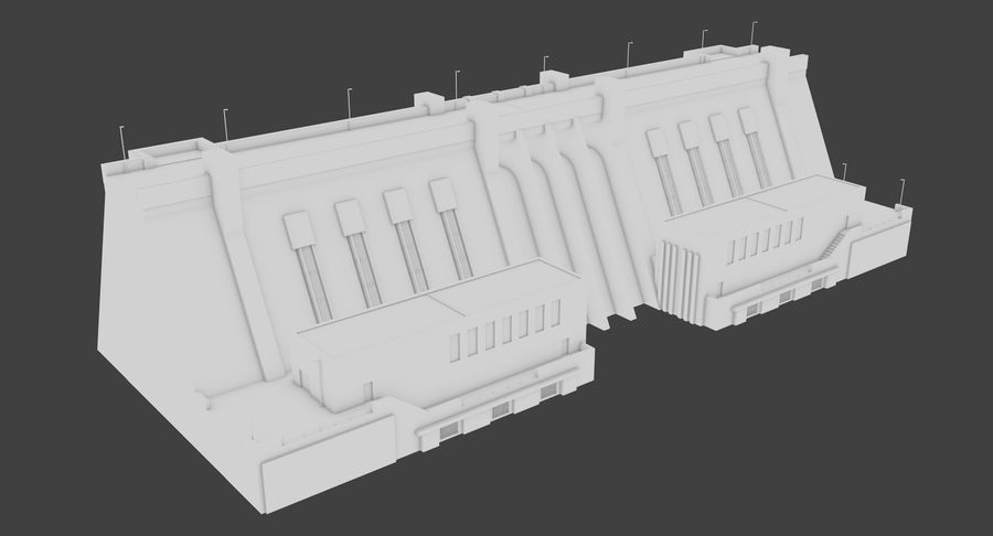 Hydroelectric Dam 1 Bare Bones Version royalty-free 3d model - Preview no. 4