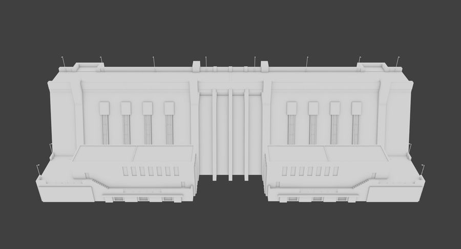 Hydroelectric Dam 1 Bare Bones Version royalty-free 3d model - Preview no. 9