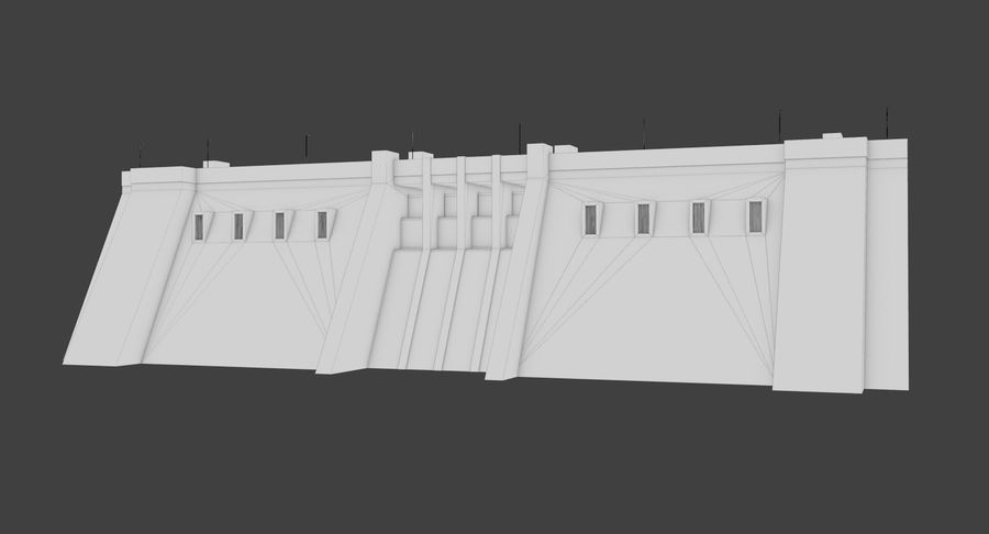Hydroelectric Dam 1 Bare Bones Version royalty-free 3d model - Preview no. 14