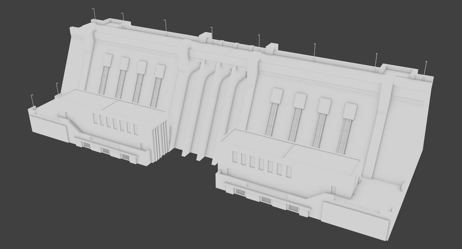 Hydroelectric Dam 1 Bare Bones Version royalty-free 3d model - Preview no. 2