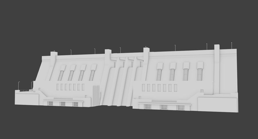Hydroelectric Dam 1 Bare Bones Version royalty-free 3d model - Preview no. 3