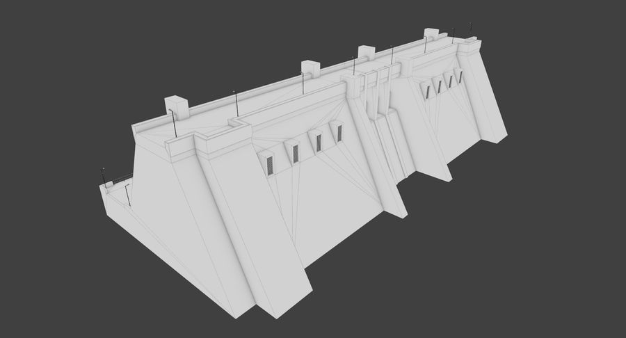 Hydroelectric Dam 1 Bare Bones Version royalty-free 3d model - Preview no. 15
