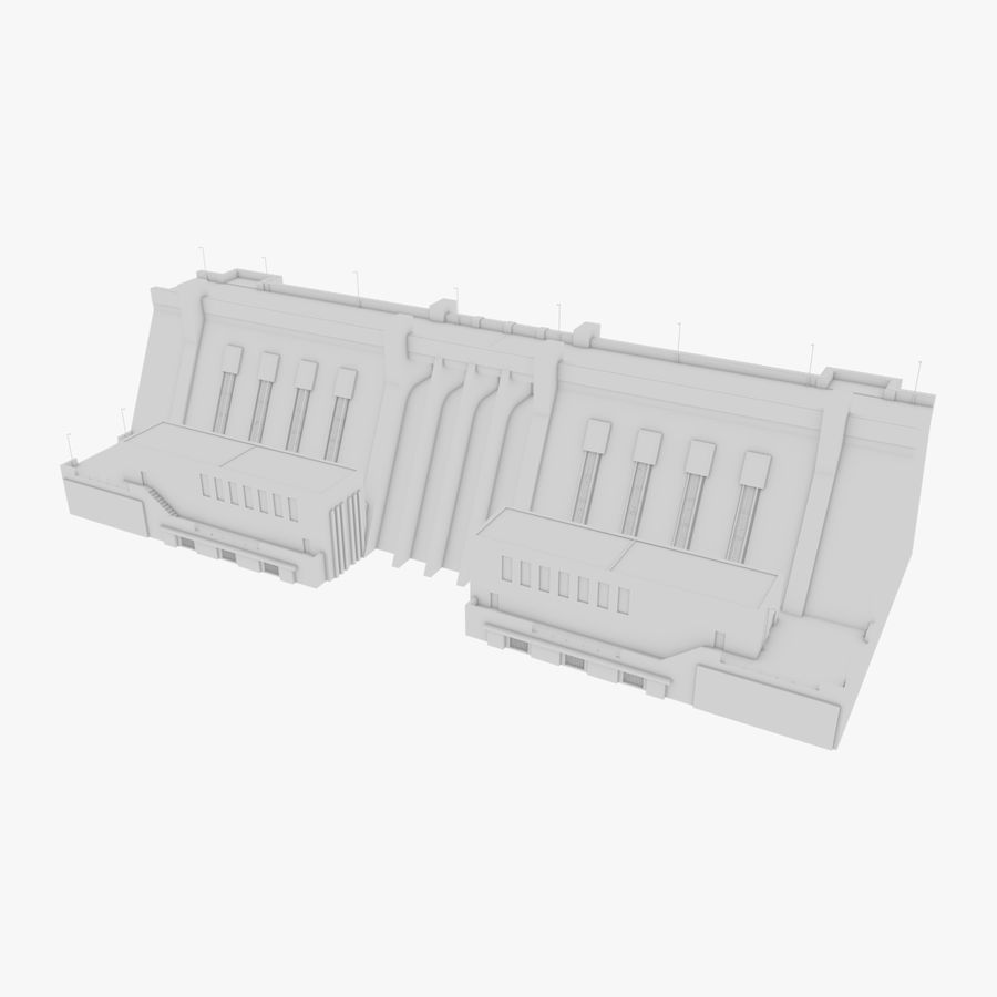 Hydroelectric Dam 1 Bare Bones Version royalty-free 3d model - Preview no. 1