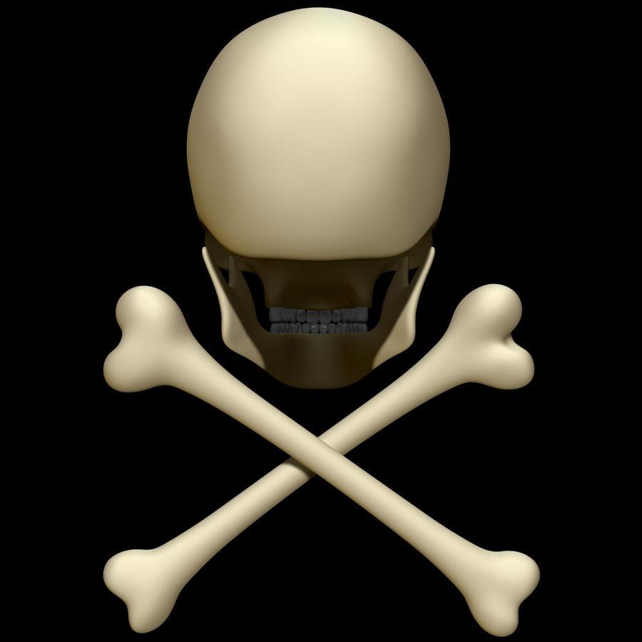 Skull cross bones royalty-free 3d model - Preview no. 5