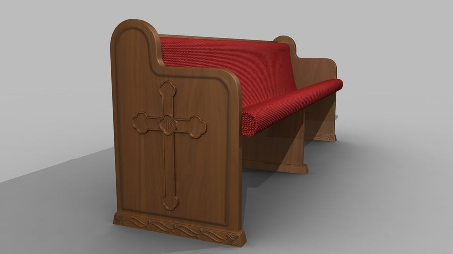 church pew bench royalty-free 3d model - Preview no. 2