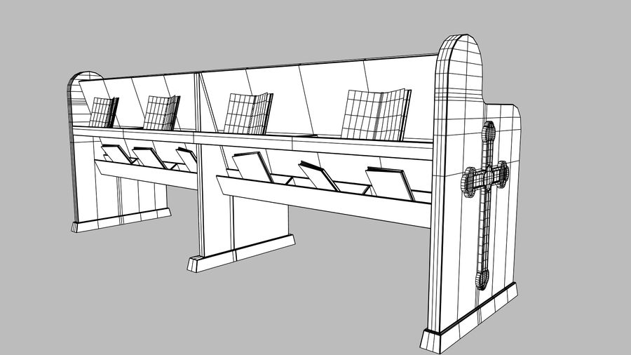 church pew bench royalty-free 3d model - Preview no. 7