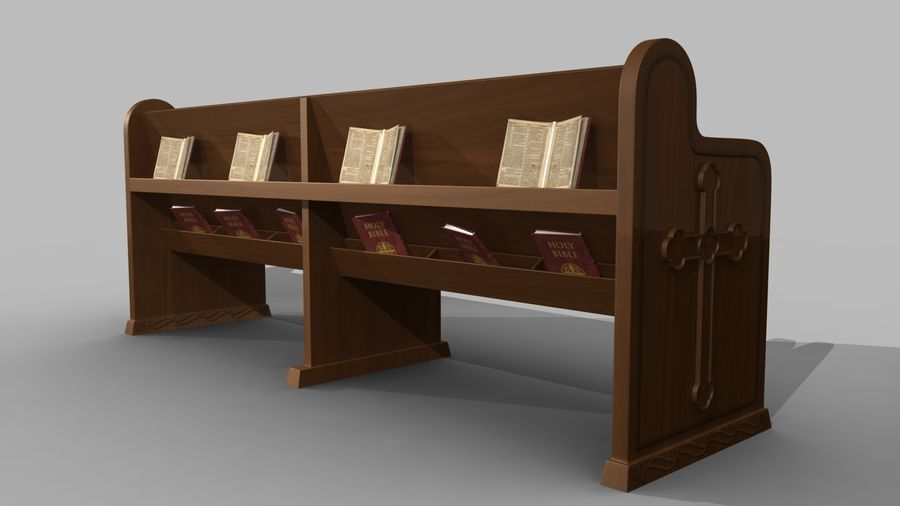 church pew bench royalty-free 3d model - Preview no. 3