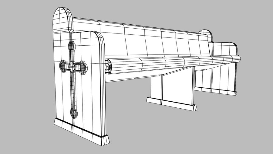 church pew bench royalty-free 3d model - Preview no. 6