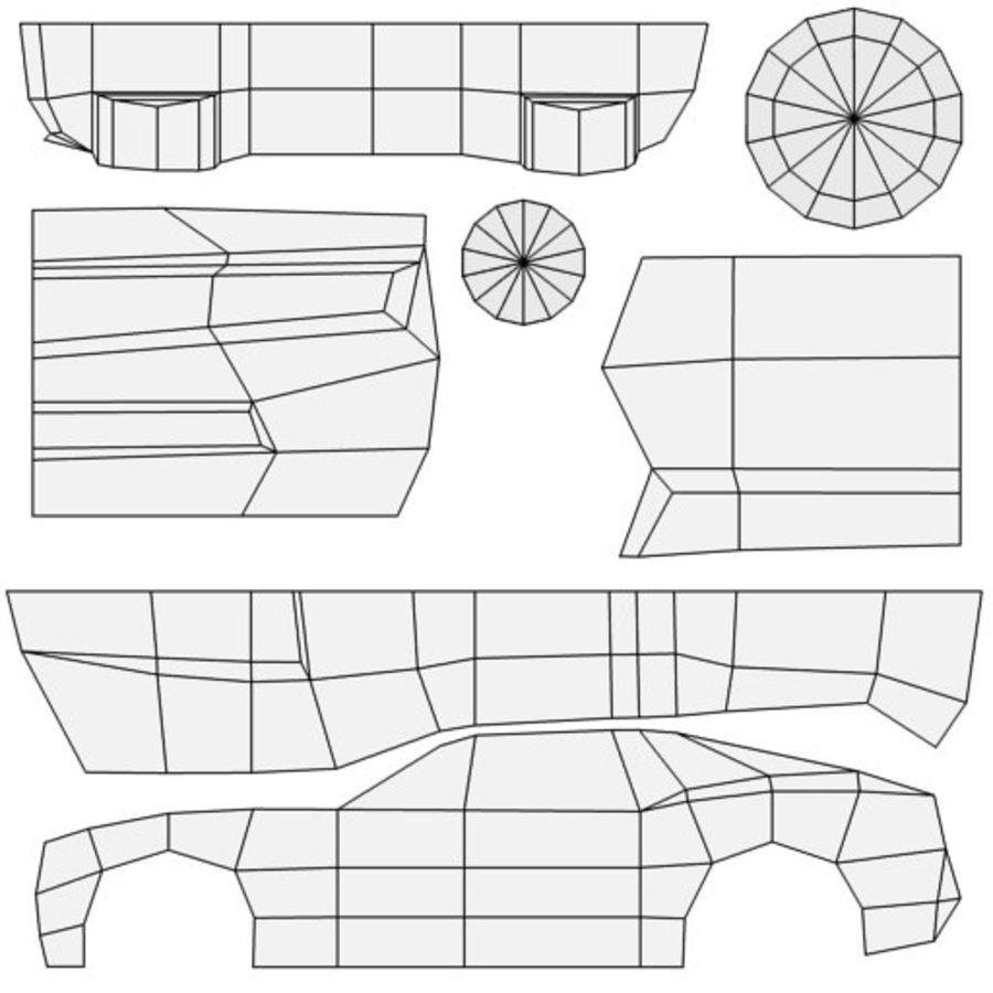 Low Poly Car royalty-free 3d model - Preview no. 12