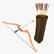 Low Poly Bow Arrow and Quiver 3d model