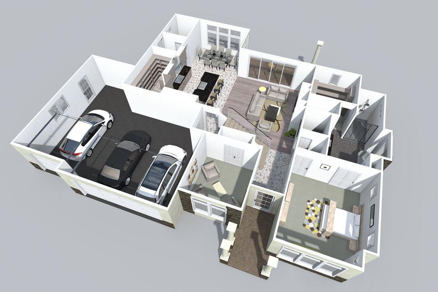 Dom z dwiema opowieściami 1 royalty-free 3d model - Preview no. 5