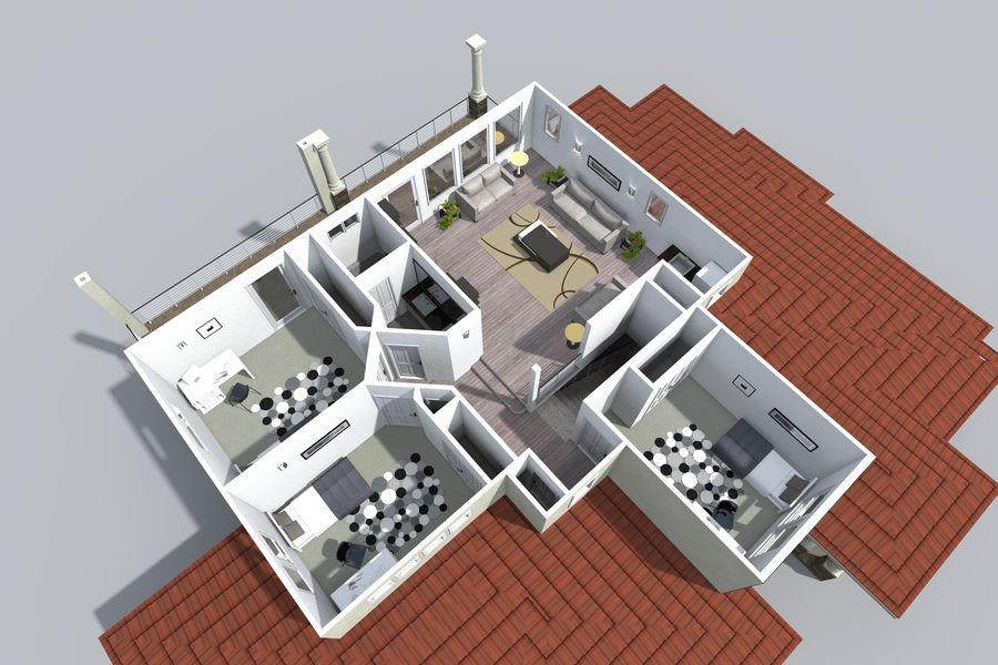 Dom z dwiema opowieściami 1 royalty-free 3d model - Preview no. 10