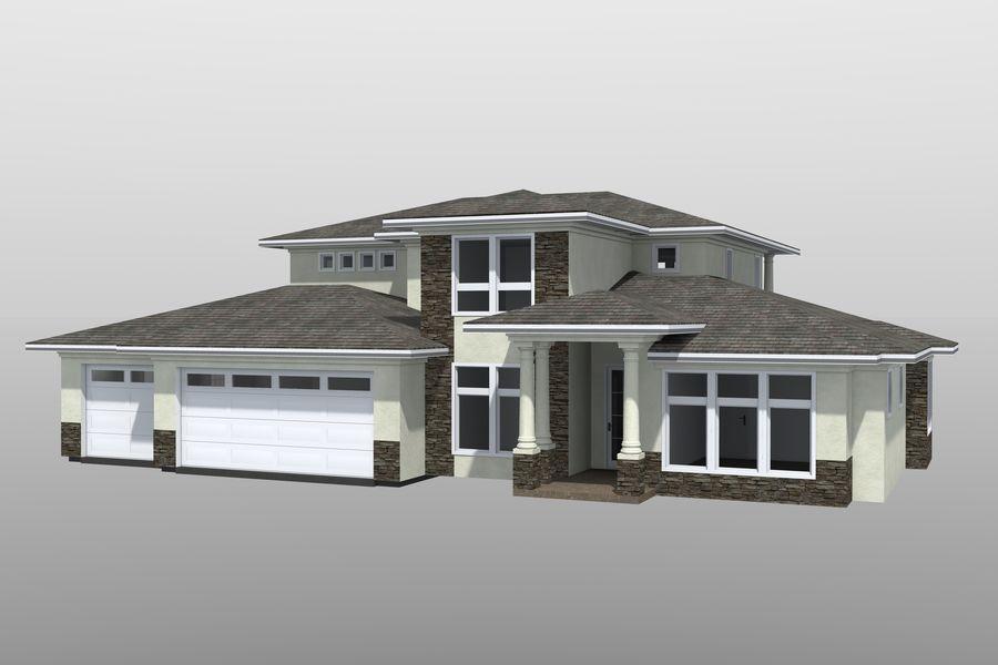 Dom z dwiema opowieściami 1 royalty-free 3d model - Preview no. 1