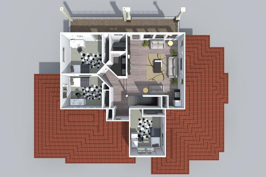 Dom z dwiema opowieściami 1 royalty-free 3d model - Preview no. 13