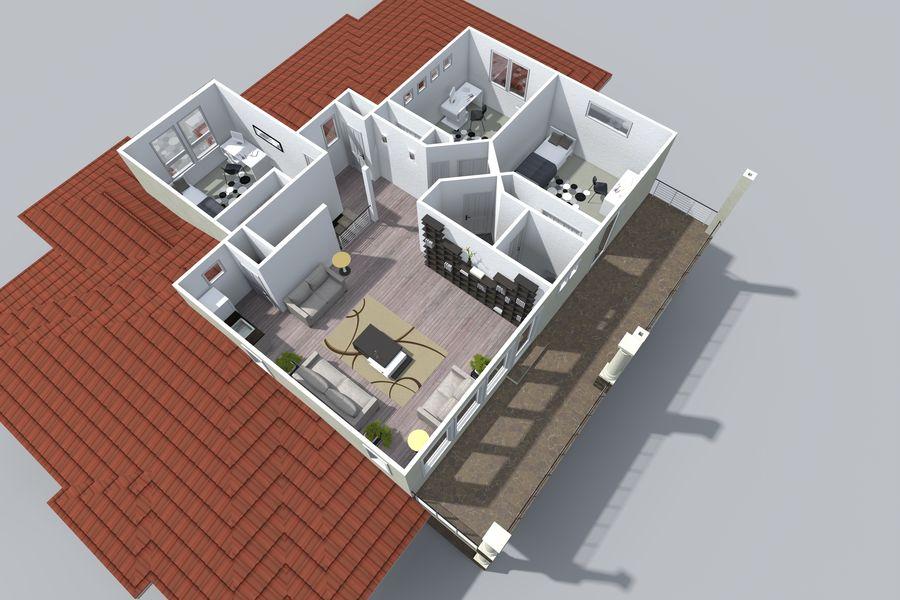 Dom z dwiema opowieściami 1 royalty-free 3d model - Preview no. 12