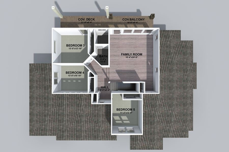 Dom z dwiema opowieściami 1 royalty-free 3d model - Preview no. 3