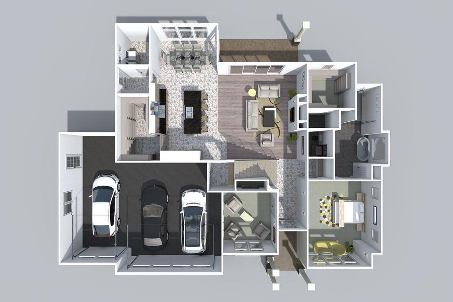 Dom z dwiema opowieściami 1 royalty-free 3d model - Preview no. 8